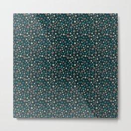 Festive Teal Snowflake Pattern Metal Print