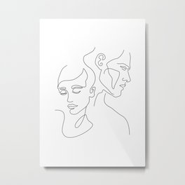 Couple Minimal Line Metal Print