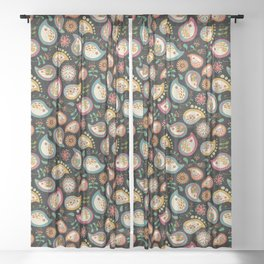 Hedgehog Paisley - Party Colors Sheer Curtain