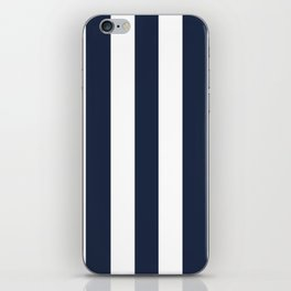 Yankees blue - solid color - white vertical lines pattern iPhone Skin