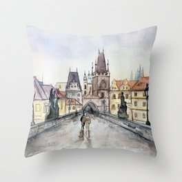 After the Rain Prague Charles Bridge Throw Pillow