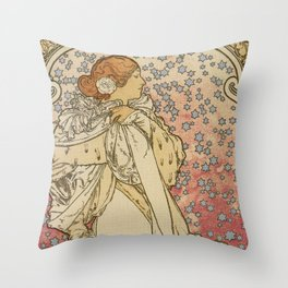 Camille by Alphonse Mucha Throw Pillow