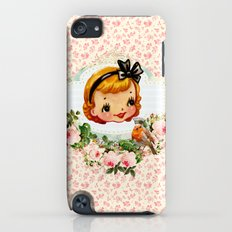 sweet retro vintage cartoon girl floral Slim Case iPod touch