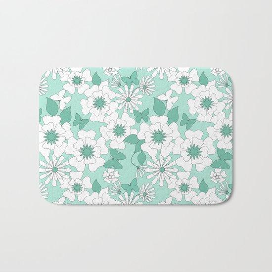 Turquoise floral pattern . Bath Mat