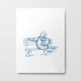 Cup O' Coffee NYC Style_pigeon Metal Print