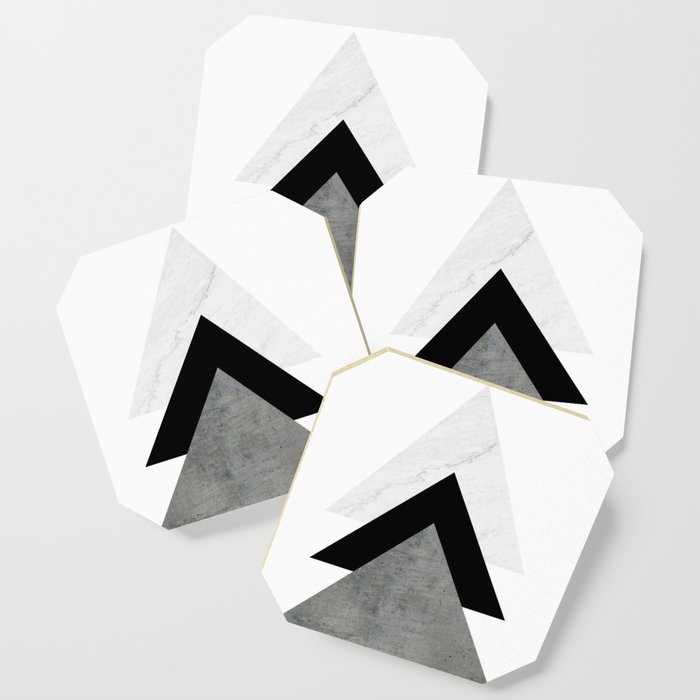 Arrows Monochrome Collage Coaster