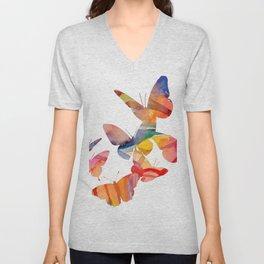 Orange Butterflies Unisex V-Neck