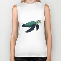 sea turtle Biker Tanks featuring Turtle by Imaginative Ink