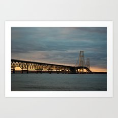 Sunset at the Mackinac Bridge Art Print