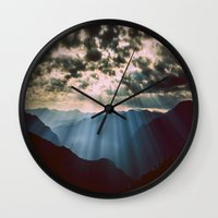 mountains Wall Clocks featuring mountainS Dark Sunset by 2sweet4words Designs