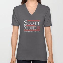 scott schrute 20 thats what she said nerd Unisex V-Neck