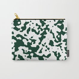 Spots - White and Deep Green Carry-All Pouch