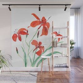 orange day lily Wall Mural