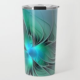 Abstract With Blue 2, Fractal Art Travel Mug