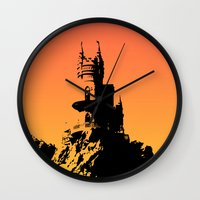 castle in the sky Wall Clocks featuring Castle by Julia Badeeva