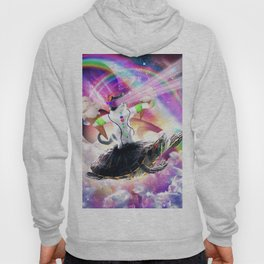 Lazer Rave Space Cat Riding Turtle Eating Ice Cream Hoody