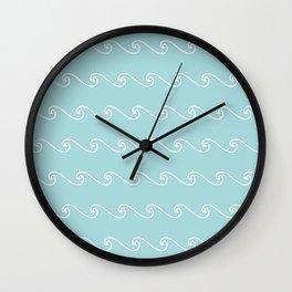 Mint Green Wave Pattern ll Wall Clock