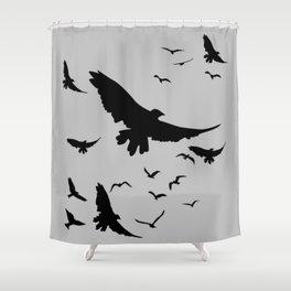 FLOCK OF RAVENS IN GREY SKY Shower Curtain