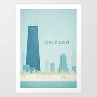 travel poster Art Prints featuring  Vintage Chicago Travel Poster by Travel Poster Co.