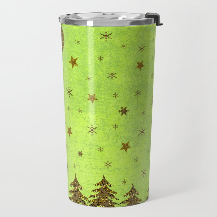 Sparkly Christmas tree, stars, moon on abstract green paper Travel Mug