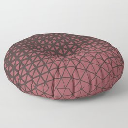 Red and Brown Geometric Triangle Wave Pattern 2021 Color of the Year Passionate & Dark Bronzetone Floor Pillow