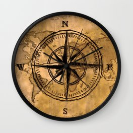 Destinations - Compass Rose and World Map Wall Clock