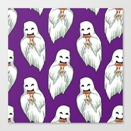 ghosts eating pizza pattern Canvas Print