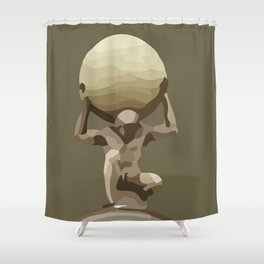 Man with Big Ball Illustration brown Shower Curtain