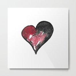 Dark Red Watercolor Heart Metal Print