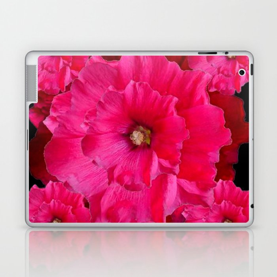 BLACK FUCHSIA-PINK  DOUBLE  HOLLYHOCK FLOWERS GARDEN Laptop & iPad Skin