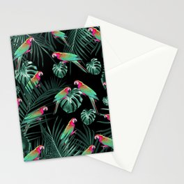 Parrots in the Tropical Jungle Night #1 #tropical #decor #art #society6 Stationery Cards