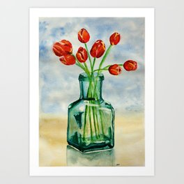 Watercolor Tulips in Blue Vase Art Print