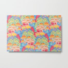 Fungi World (Mushroom world) -PINK Metal Print