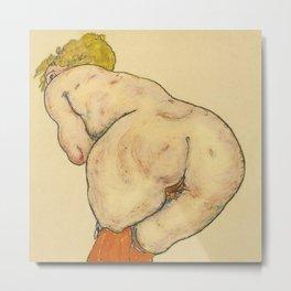 """Egon Schiele """"Ruckenakt mit orangefarbenen strumpfen"""" Metal Print"""
