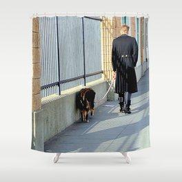 The Shadow Striper's Dog Walk Shower Curtain