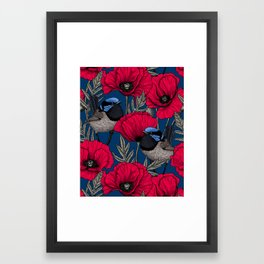 Fairy wren and poppies Framed Art Print