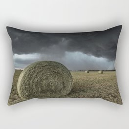 Fade Away - Round Hay Bales in Storm in Oklahoma Rectangular Pillow