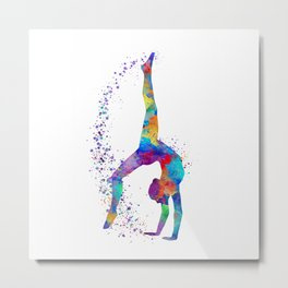 Colorful Gymnastics Tumbling Watercolor Art Metal Print