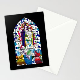 Mary and Jesus - stained glass window style Stationery Cards