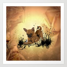 Cute little chihuahua with flowers Art Print
