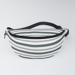 PPG Night Watch Pewter Green and White Stripes, Wide and Narrow Horizontal Line Pattern Fanny Pack