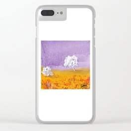 Purple and Gold Landscape Clear iPhone Case