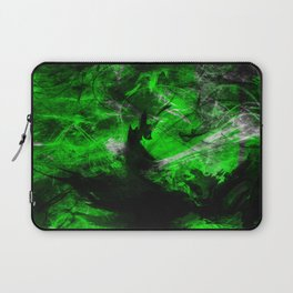 Emerald Blast - Abstract Black And Green Painting Laptop Sleeve