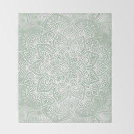 Mandala, Yoga Love, Sage Green, Boho Print Throw Blanket