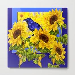 ARTISTIC BLUE CROW SUNFLOWERS CONCEPT Metal Print
