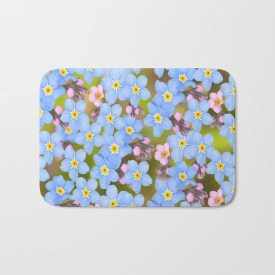 Forget-me-not flowers and buds - summer meadow Bath Mat