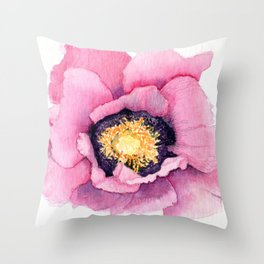 Large Watercolor Poppy Throw Pillow