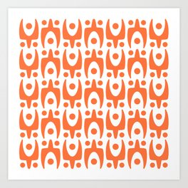 Mid Century Modern Abstract Pattern 541 Orange Art Print