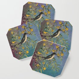 Flycatcher with Carolina Jasmine, Vintage Natural History and Botanical Coaster