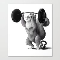 crossfit Canvas Prints featuring Crossfit Squirrel by The Elfin Artist
